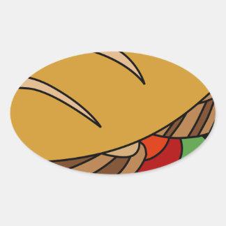 Submarine Sandwich cartoon Oval Sticker