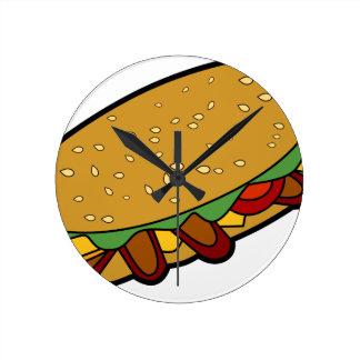 Submarine Sandwich cartoon Round Clock