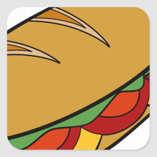 Submarine Sandwich cartoon Square Sticker
