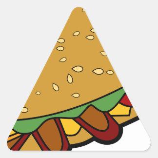 Submarine Sandwich cartoon Triangle Sticker
