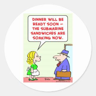 submarine sandwiches soaking classic round sticker