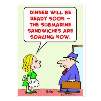 submarine sandwiches soaking postcard