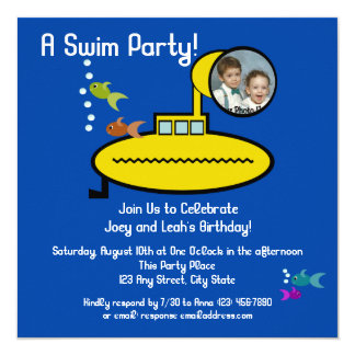 Submarine Swim Party with Photo Card