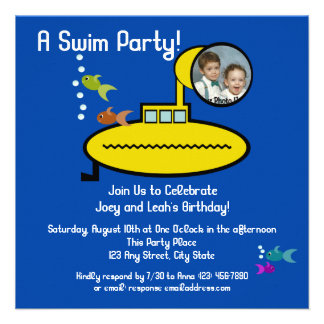 Submarine Swim Party with Photo Personalized Invitations