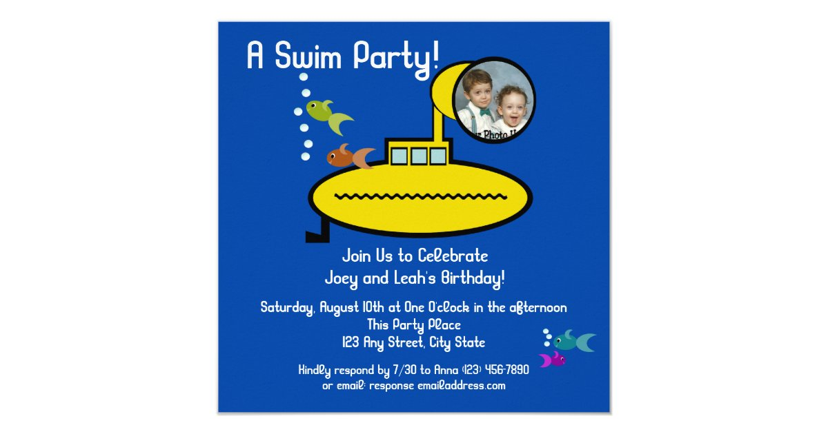 Submarine Swim Party With Photo Invitation Zazzle Com