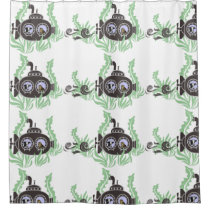 Submarine with Cow and Owl Inside Shower Curtain