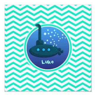 """Submarino; Aguamarina Chevron verde Invitación 5.25"""" X 5.25"""""""