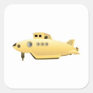 Submarino amarillo de la pendiente pegatinas cuadradas