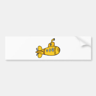 Submarino amarillo del dibujo animado pegatina de parachoque