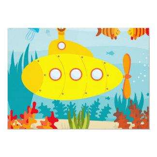 """Submarino amarillo del dibujo animado invitación 5"""" x 7"""""""