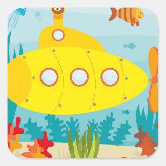 Submarino amarillo del dibujo animado pegatina cuadrada