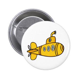 Submarino amarillo del dibujo animado pin redondo 5 cm