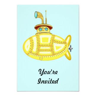 """Submarino amarillo invitación 5"""" x 7"""""""