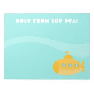 Submarino amarillo lindo, nota del mar, para los n libretas para notas