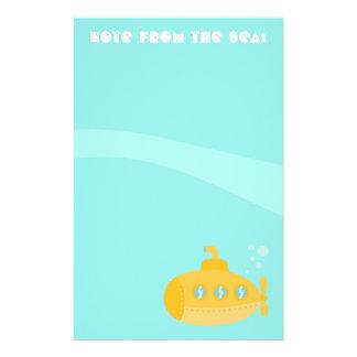 Submarino amarillo lindo, nota del mar, para los n papelería personalizada