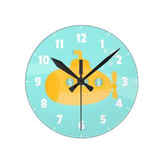 Submarino amarillo lindo, para el dormitorio de lo reloj de pared