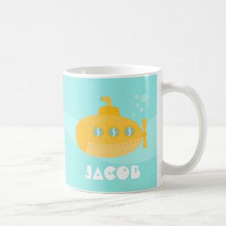 Submarino amarillo lindo, subacuático, para los ni taza de café