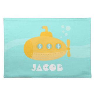 Submarino amarillo lindo, submarino, para los niño manteles individuales