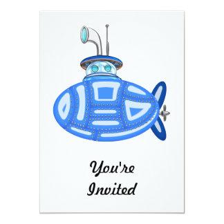 """Submarino azul invitación 5"""" x 7"""""""