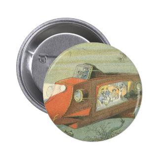 Submarino de la ciencia ficción del vintage debajo pin redondo 5 cm