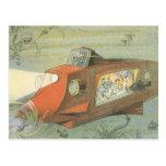 Submarino de la ciencia ficción del vintage debajo tarjeta postal
