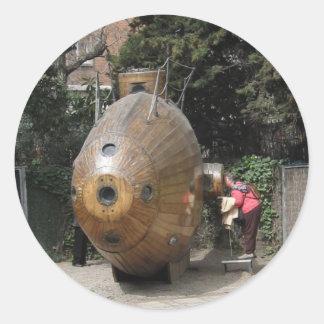submarino de madera de Barcelona del pegatina