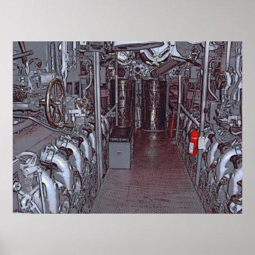 SUBMARINO DE USS BOWFIN DE LA SALA DE MÁQUINAS - H POSTERS