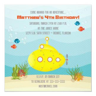 """Submarino del amarillo del mar profundo invitación 5.25"""" x 5.25"""""""
