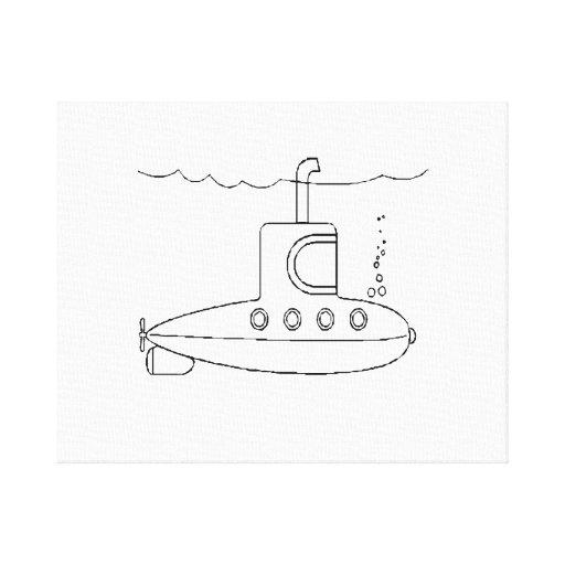 Submarino del dibujo animado impresión en lona estirada