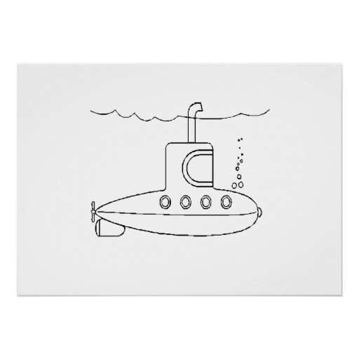 Submarino del dibujo animado posters