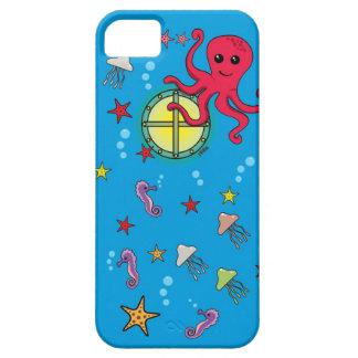 Submarino del dibujo animado y animal de mar lindo iPhone 5 Case-Mate fundas