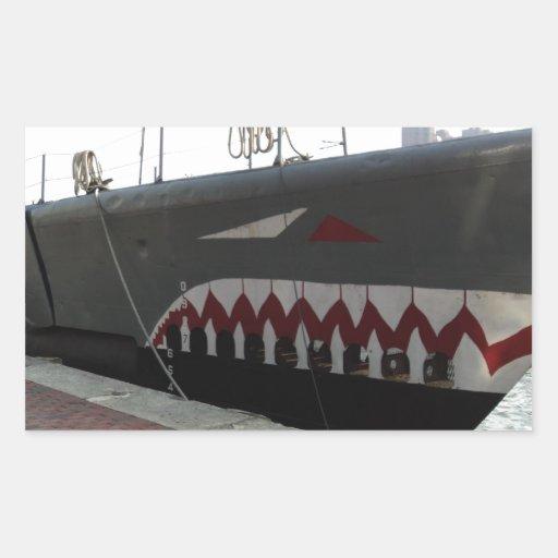 Submarino del tiburón rectangular pegatinas