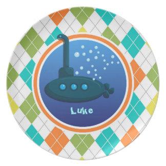 Submarino en el modelo colorido de Argyle Plato Para Fiesta