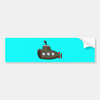 Submarino fresco del dibujo animado etiqueta de parachoque