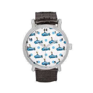 Submarino lindo del dibujo animado, lunares de los relojes de pulsera