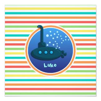 """Submarino; Rayas brillantes del arco iris Invitación 5.25"""" X 5.25"""""""