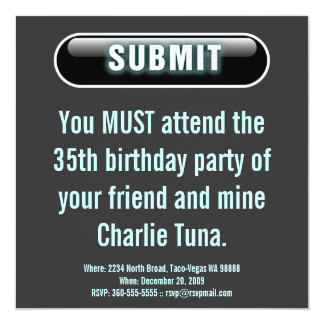 Submit Button 5.25x5.25 Square Paper Invitation Card
