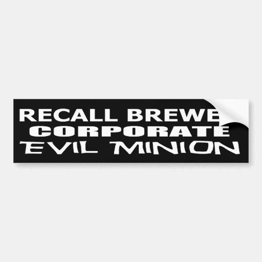 Subordinado corporativo malvado del cervecero de e pegatina de parachoque