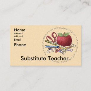 substitute teacher business card - Substitute Teacher Business Cards