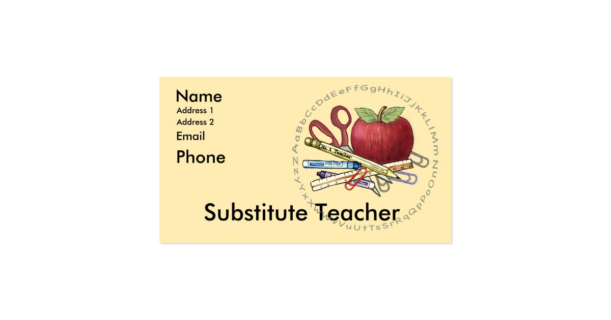 Substitute Teacher Business Card  Zazzle. What To Put On A Flyer Template. Turn Off Cell Phones Template. Template For Business Plans Template. Resume For Accountant Samples Template. Top Ten Resume Tips Template. Blank Cornell Notes Printable. Soccer Award Certificates Templates. Word Template Free Download Template