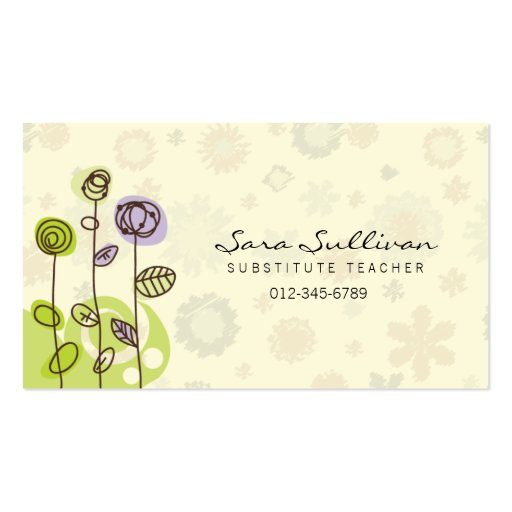 chalkboard cute owl doodle substitute teacher business card zazzle com