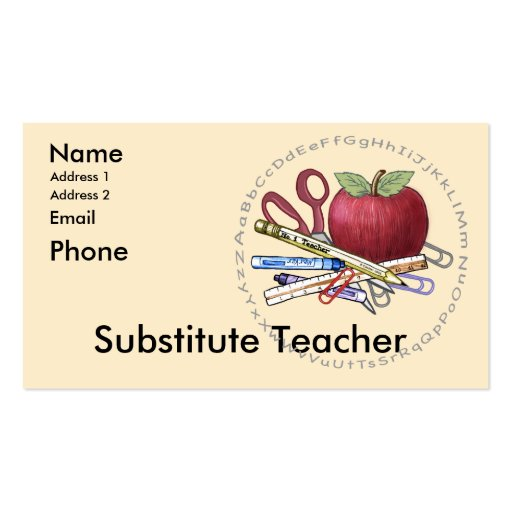 Teacher business card templates page2 bizcardstudio substitute teacher business card templates wajeb Image collections