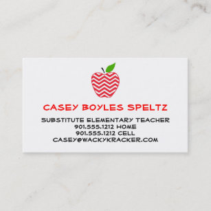 Substitute teacher business cards templates zazzle substitute teacher business cards reheart Choice Image
