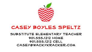 Substitute teacher business cards zazzle substitute teacher business cards colourmoves