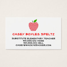 Substitute Teacher Business Cards at Zazzle