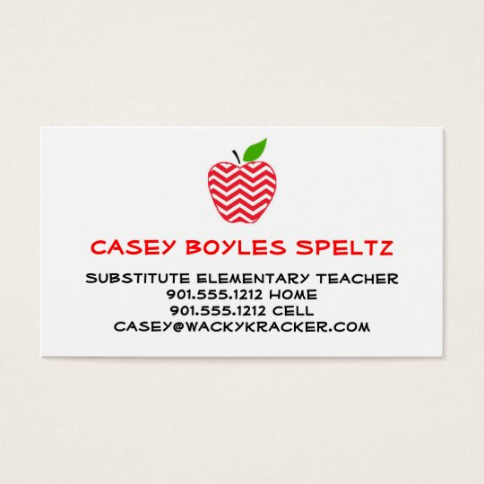 Substitute Teacher Business Cards Templates Zazzle - Teacher business cards templates free