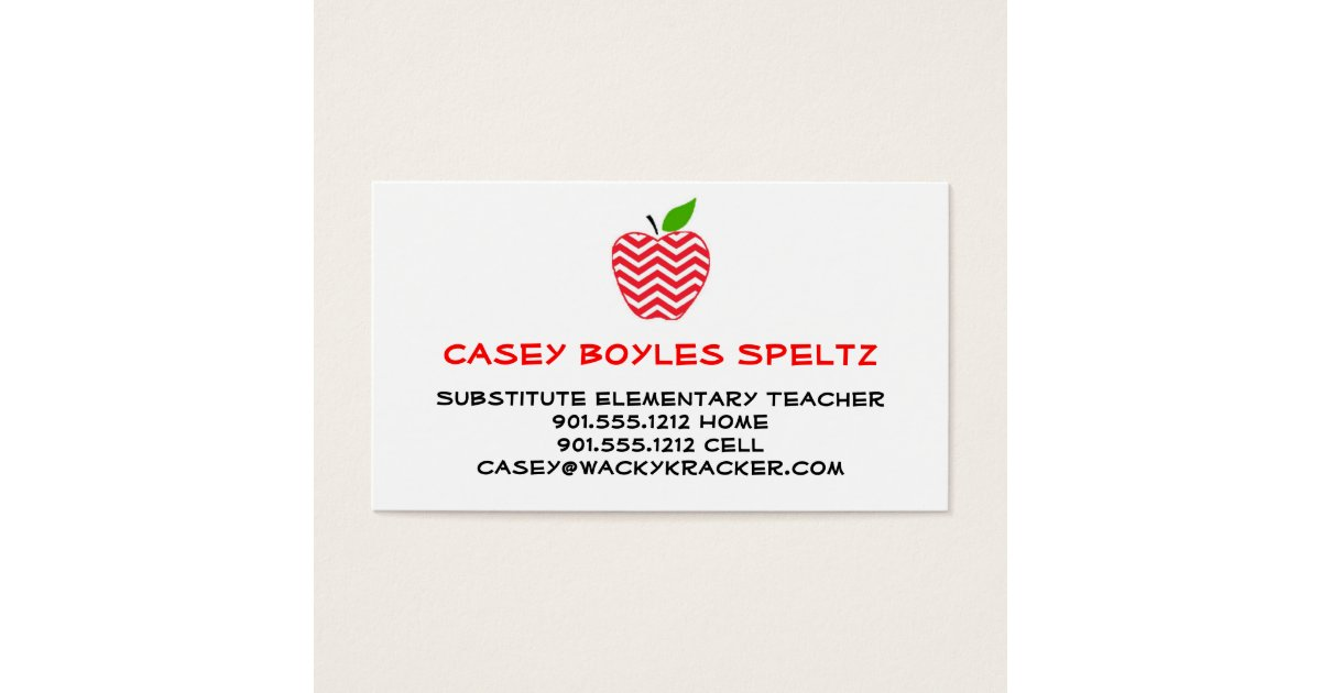 Substitute Teacher Business Cards & Templates | Zazzle