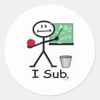 Substitute Teacher Classic Round Sticker