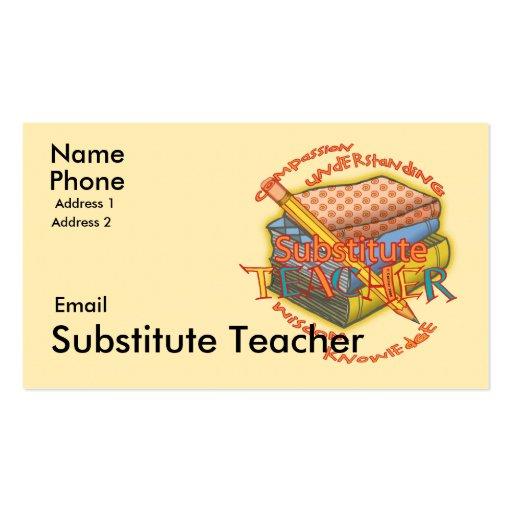 Substitute Teacher Motto Business Card Templates | Zazzle