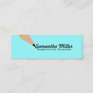 substitute teacher skinny business cards - Substitute Teacher Business Cards